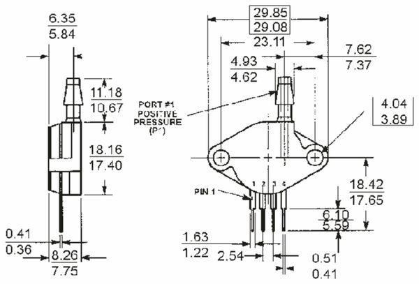 Drucksensor MP2200AP, FREESCALE, 0 ... 200 kPa, 0,2 mV/kPa - Produktbild 2