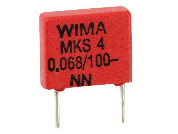 Folienkondensator WIMA MKS4, 68 nF, 100 V-, 10 Stück