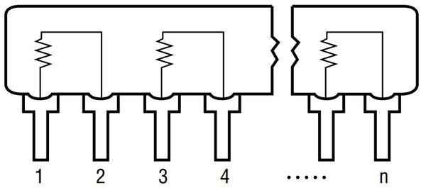Widerstands-Netzwerk, 9P/8R, SIP, 10 kΩ , 2% - Produktbild 3