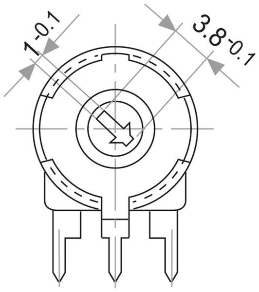 Potentiometer PIHER PT-10, 500 Ω, liegend - Produktbild 2