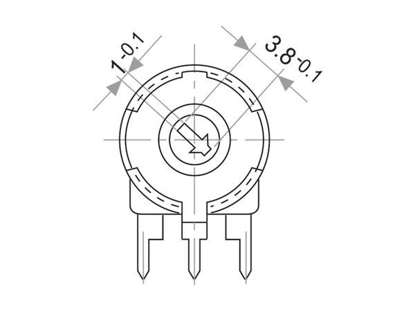 Potentiometer PIHER PT-10, 50 KΩ, stehend - Produktbild 3