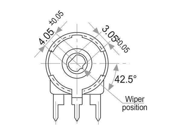 Potentiometer PIHER PT-15NH05, 1 KΩ, stehend - Produktbild 2