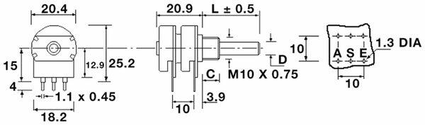 Potentiometer OMEG PC2G20BU, 10 kΩ, stereo, linear - Produktbild 2