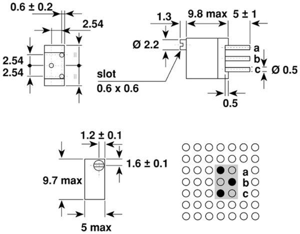 VISHAY Cermet-Trimmer T93YB, stehend, 0,5 W, 1 kΩ - Produktbild 2