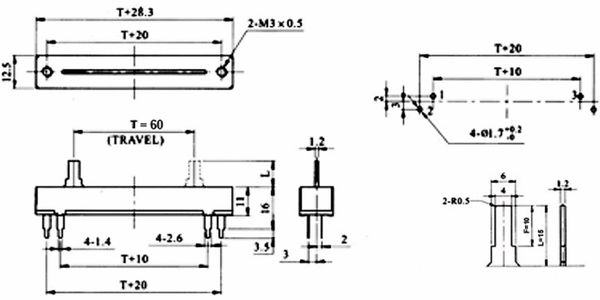 Schiebepotentiometer, 0,5 W, lin., 10 kΩ - Produktbild 2