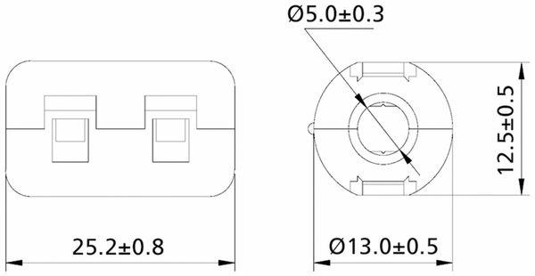 Klappferrit, Entstörfilter RF75 120 Ω für Kabeldurchmesser 5,0 mm (Max.) - Produktbild 2