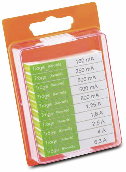 Feinsicherung-Sortiment, ESKA, 122850, Keramik, (Ø x L) 5 mm x 20 mm Träge -T- Inhalt 100 St.