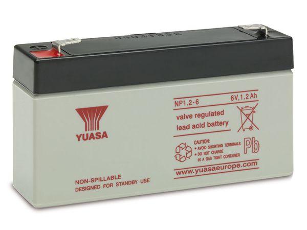 Blei-Akkumulator YUASA NP1.2-6, 6 V-/1,2 Ah