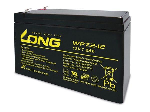 Blei-Akkumulator KUNG LONG WP7.2-12, 12 V-/7,2 Ah