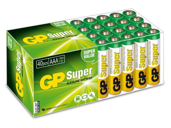 Micro-Batterie-Set GP SUPER Alkaline 40 Stück