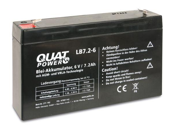Blei-Akkumulator QUATPOWER LB7.2-6, 6 V-/7,2 Ah - Produktbild 1