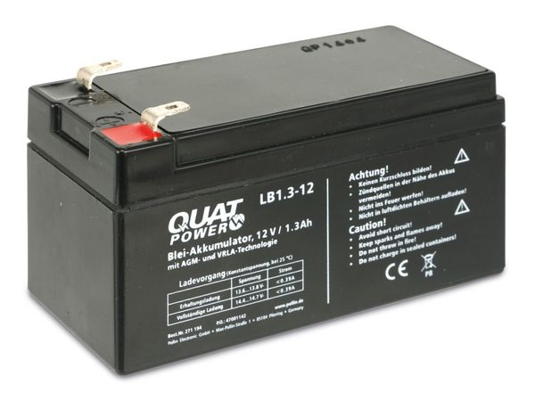 Blei-Akkumulator QUATPOWER LB1.3-12, 12 V-/1,3 Ah