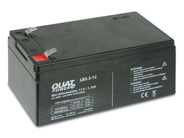 Blei-Akkumulator QUATPOWER LB3.3-12, 12 V-/3,3 Ah - Produktbild 1