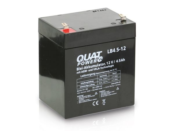 Blei-Akkumulator QUATPOWER LB4.5-12, 12 V-/4,5 Ah