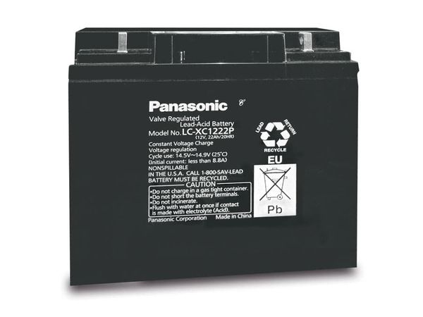 Bleiakkumulator PANASONIC LC-XC1222P, 12 V-/22 Ah, zyklisch - Produktbild 1