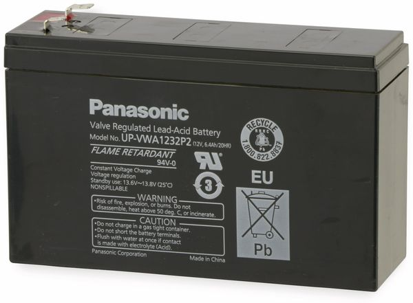Bleiakkumulator PANASONIC UP-VWA1232P2, 12 V-/6,5 Ah - Produktbild 2