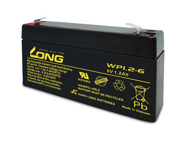 Blei-Akkumulator KUNG LONG WP1.2-6, 6 V-/1,2 Ah
