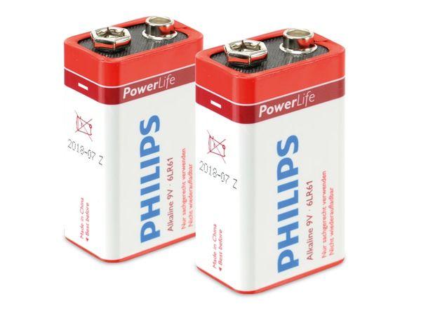 9V-Blockbatterie PHILIPS PowerLife, 2 Stück