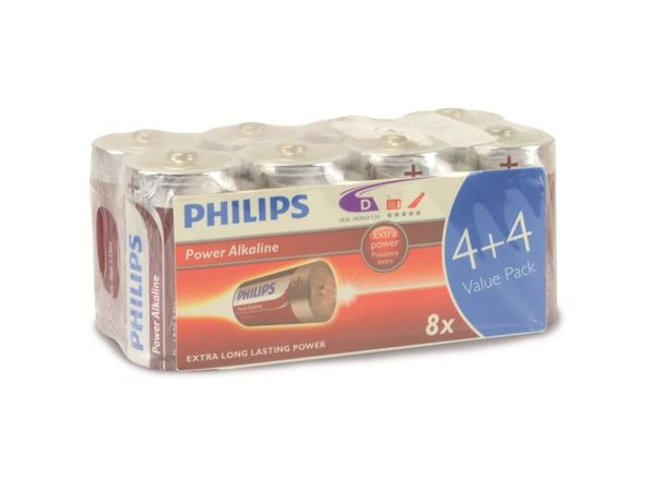 Mono-Batterie PHILIPS Power Alkaline, 8 Stück - Produktbild 1