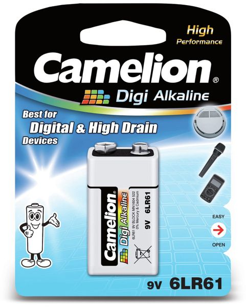 9V-Blockbatterie,Digi-Alkaline, Camelion 6LR61, 1 Stück