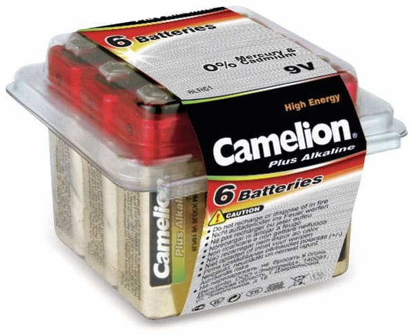 9V-Blockbatterie, Plus Alkaline, Camelion, 6 Stück