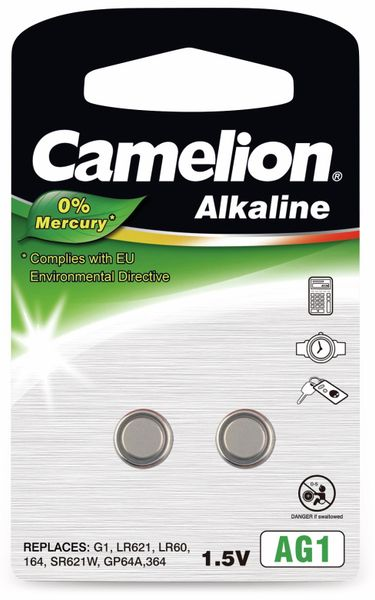 Knopfzelle Camelion AG1, 2 St.