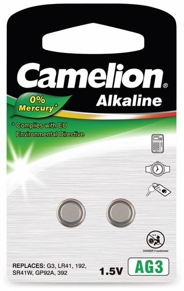 Knopfzelle Camelion AG3, 2 St.