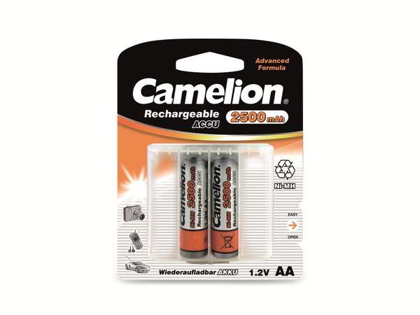 Mignon-Akku, NiMH, 2500mAh Camelion 2 Stück,inkl. Aufbewahrungsbox für 4 St