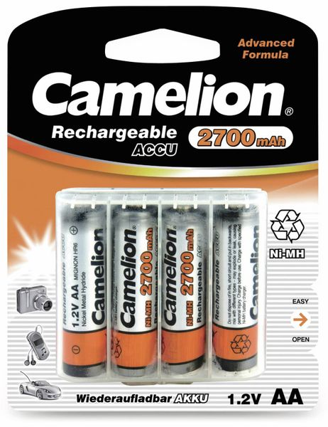 NiMH-Mignon-Akku CAMELION, 2700 mAh, 4 Stück, mit Batterienbox