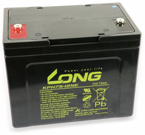 Blei-Akkumulator KUNG LONG WPKPH75-12NE, 12 V-/75 Ah, zyklenfest - Produktbild 1
