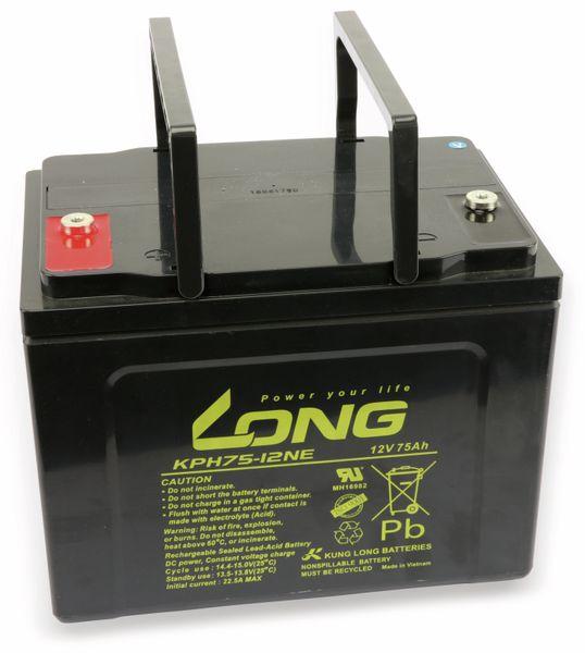 Blei-Akkumulator KUNG LONG WPKPH75-12NE, 12 V-/75 Ah, zyklenfest - Produktbild 2