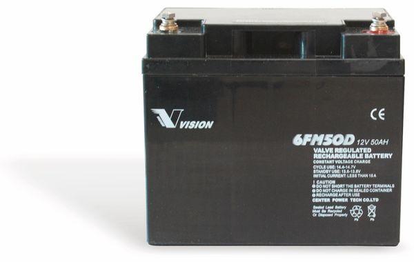 Blei-Akkumulator VISION 6FM50D-X, 12 V-/50 Ah