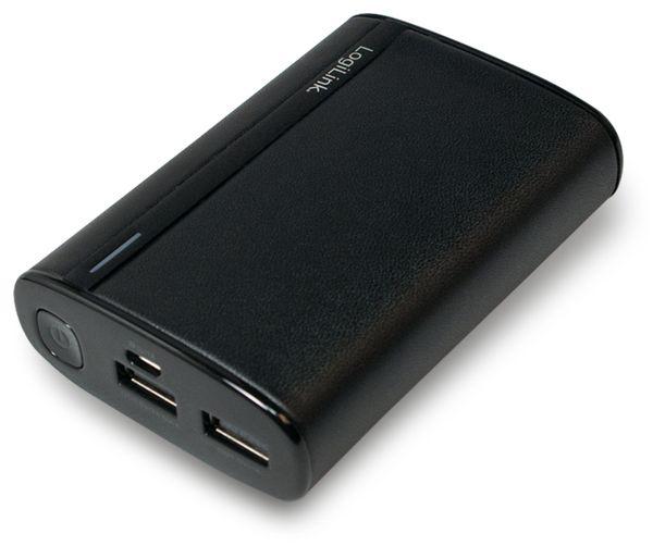 USB Powerbank LogiLink, 7800 mA, 2x USB-Port, schwarz Lederoptik - Produktbild 1