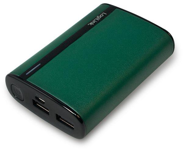 USB Powerbank LogiLink, 7800 mA, 2x USB-Port, grün Lederoptik
