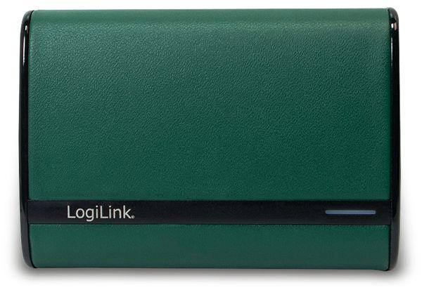 USB Powerbank LogiLink, 7800 mA, 2x USB-Port, grün Lederoptik - Produktbild 2