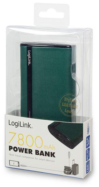 USB Powerbank LogiLink, 7800 mA, 2x USB-Port, grün Lederoptik - Produktbild 3