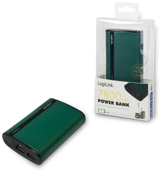 USB Powerbank LogiLink, 7800 mA, 2x USB-Port, grün Lederoptik - Produktbild 4