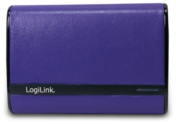 USB Powerbank LogiLink, 7800 mA, 2x USB-Port, violett Lederoptik - Produktbild 2