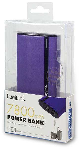 USB Powerbank LogiLink, 7800 mA, 2x USB-Port, violett Lederoptik - Produktbild 3