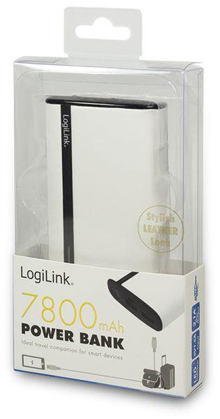 USB Powerbank LogiLink, 7800 mA, 2x USB-Port, weiß Lederoptik - Produktbild 3