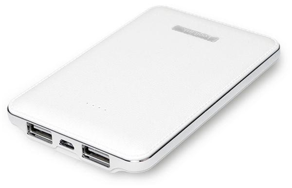 USB Powerbank LogiLink, 5000 mA, 2x USB-Port, weiß Lederoptik - Produktbild 2