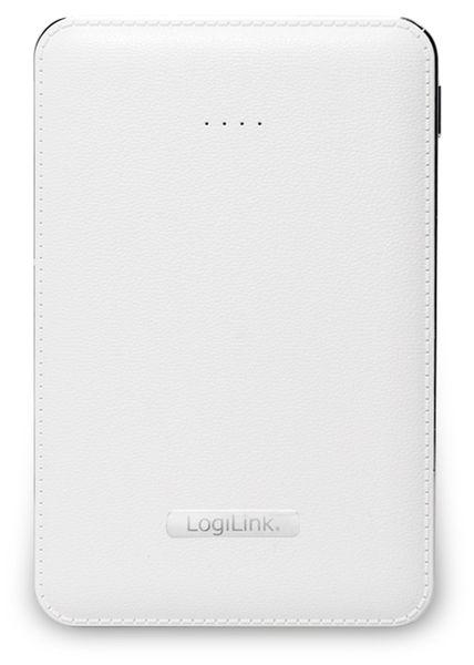 USB Powerbank LogiLink, 5000 mA, 2x USB-Port, weiß Lederoptik - Produktbild 3