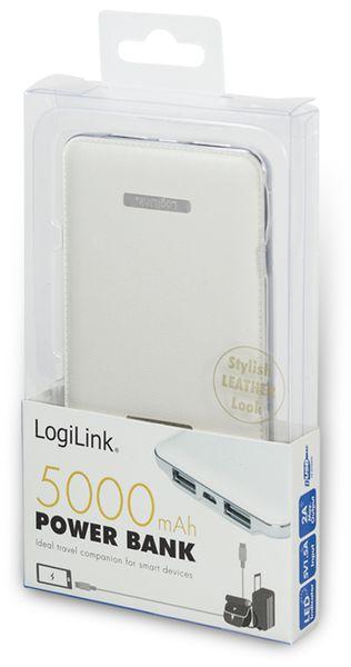 USB Powerbank LogiLink, 5000 mA, 2x USB-Port, weiß Lederoptik - Produktbild 4