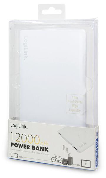 USB Powerbank LogiLink, 12000 mA, 2x USB-Port, weiß - Produktbild 4