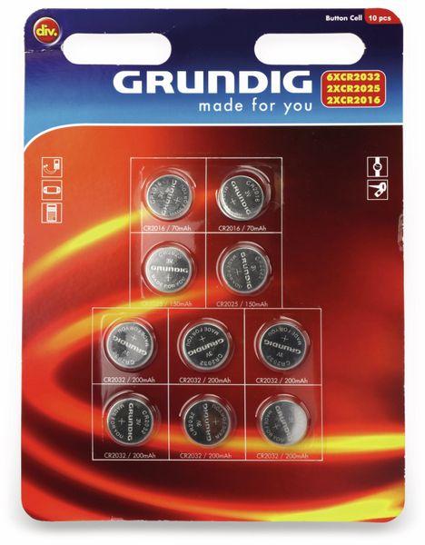 Knopfzellen-Set, GRUNDIG,CR2016..CR2032, Li-MnO2, 10-teilig