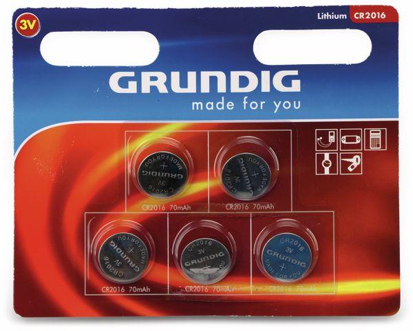 Lithium-Knopfzelle GRUNDIG, CR2016, 5 Stück