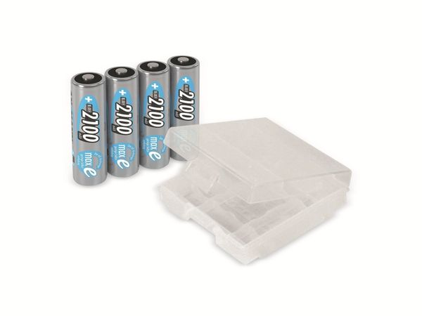 Mignon-Akku, ANSMANN maxE, NiMH, 2100mAh, 4 Stück, mit Batteriebox - Produktbild 1
