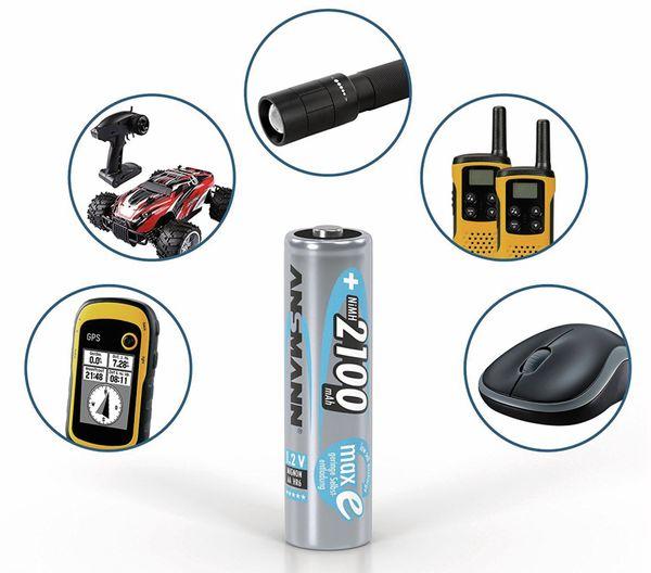 NiMH-Mignon-Akku, ANSMANN maxE, 2100 mAh, 4 Stück, mit Batterienbox - Produktbild 3