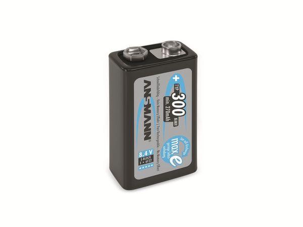 9V-Blockakku, ANSMANN maxE, NiMH, 300 mAh - Produktbild 1