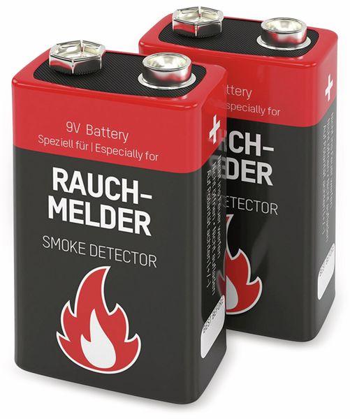 9V-Blockbatterie, ANSMANN Alkali, 550mAh, 2 Stück, für Rauchmelder - Produktbild 1
